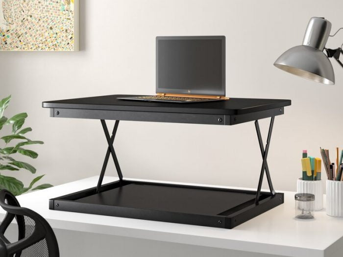 wayfair black work from home small space standing desk