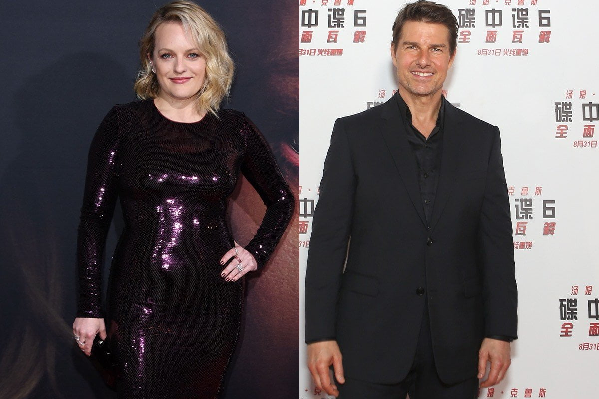 side by side photos of Elisabeth Moss in a sparkling purple dress and Tom Cruise smiling in a black suit