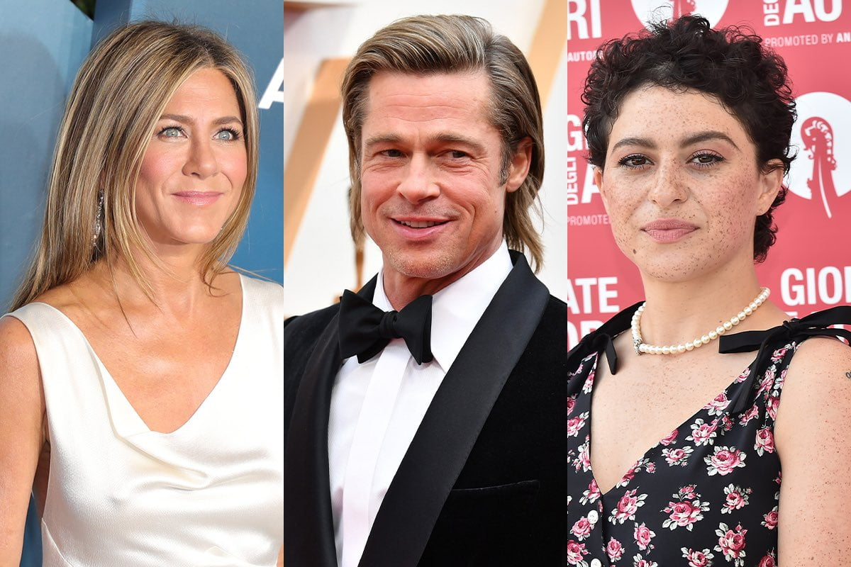 side by side photos of Jennifer Aniston in a white dress, Brad Pitt in a tux, and Alia Shawkat in a floral top