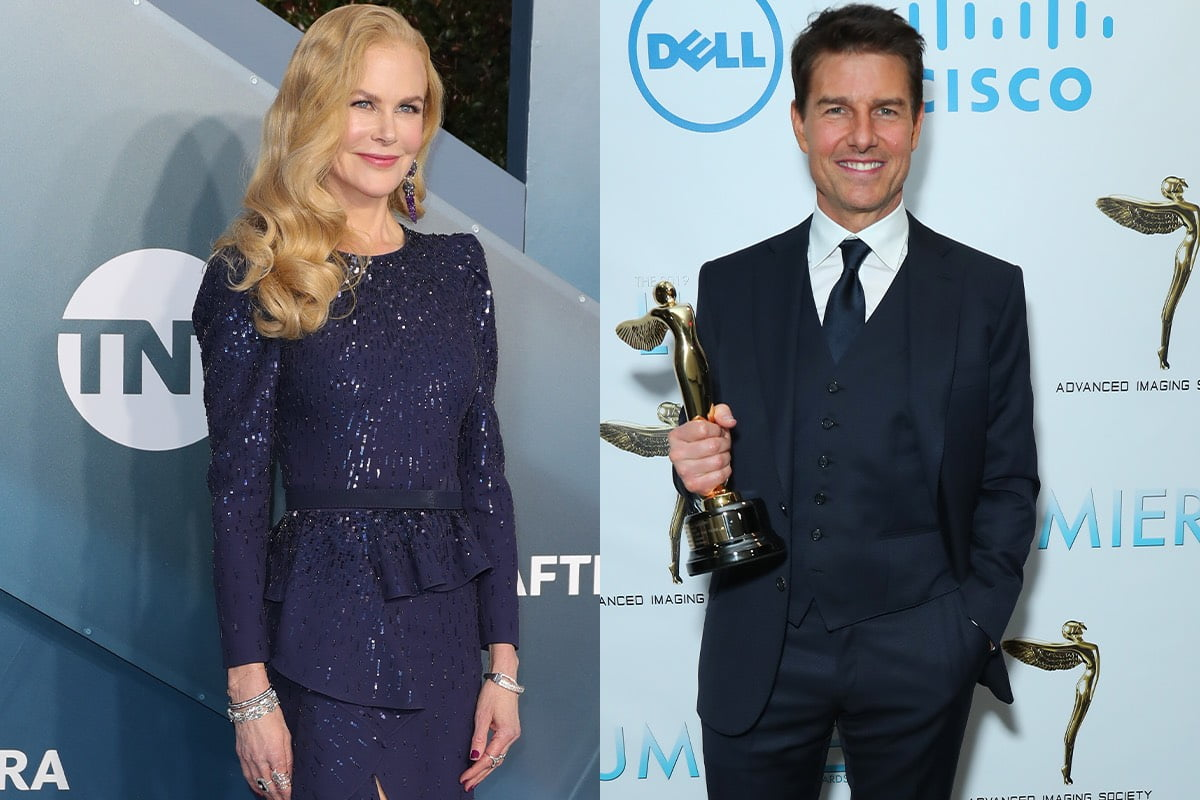 side by side photos of Nicole Kidman smiling in a blue dress and Tom Cruise smiling in a navy suit holding an award