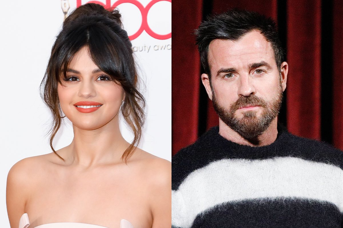 side by side photos of Selena Gomez smiling in a tan dress and Justin Theroux staring ahead in a black and white sweater