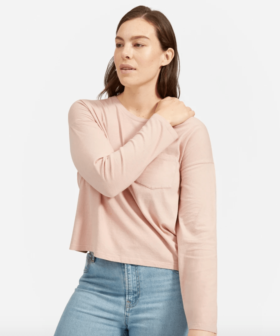 The Long-Sleeve Box-Cut Pocket Tee in Rose (Pigment Dyed)