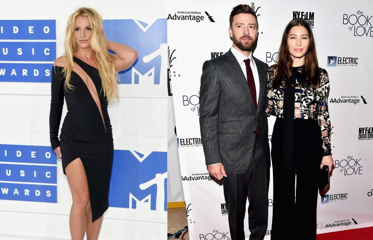 Britney Spears wearing a black dress on the red carpet. Justin Timberlake wearing a dark suit while standing with Jessica Biel, who's wearing a multicolored blouse and black slacks, on the red carpet.