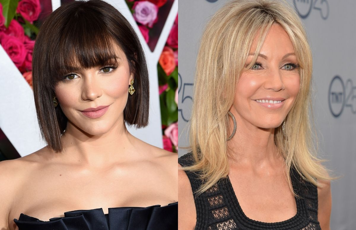 Katherine McPhee wearing a black, strapless dress on the red carpet. A separate photo of Heather Locklear wearing a black stripped top on the red carpet.