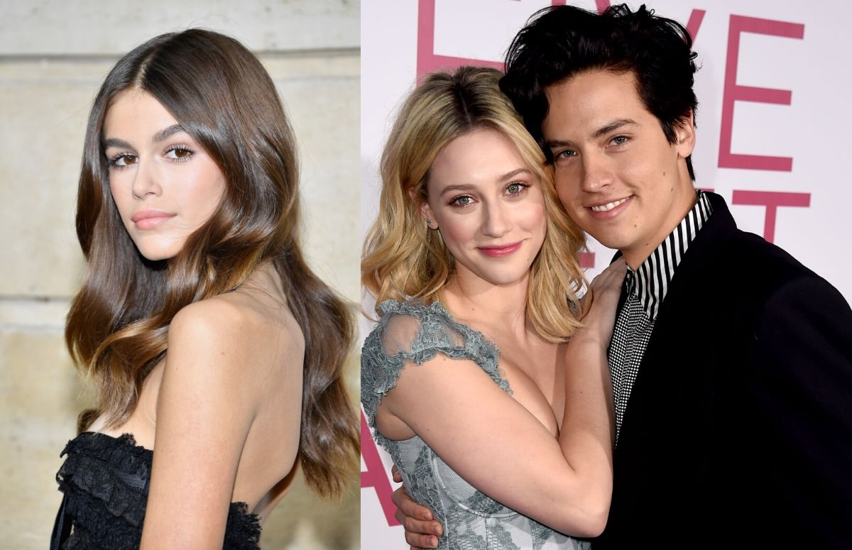 Kaia Gerber wearing a black dress on the red carpet. A separate photo of Lili Reinhart, wearing a blue dress, standing with Cole Sprouse, who's wearing a dark suit, on the red carpet.