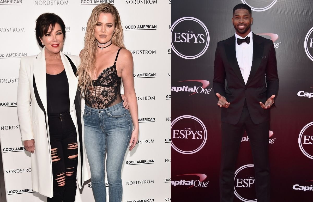 Kris Jenner wearing black jeans an a white coat standing with Khloe Kardashian, who's wearing a lacy top and blue jeans, on the red carpet. A separate photo of Tristan Thompson in a black tux on the red carpet.
