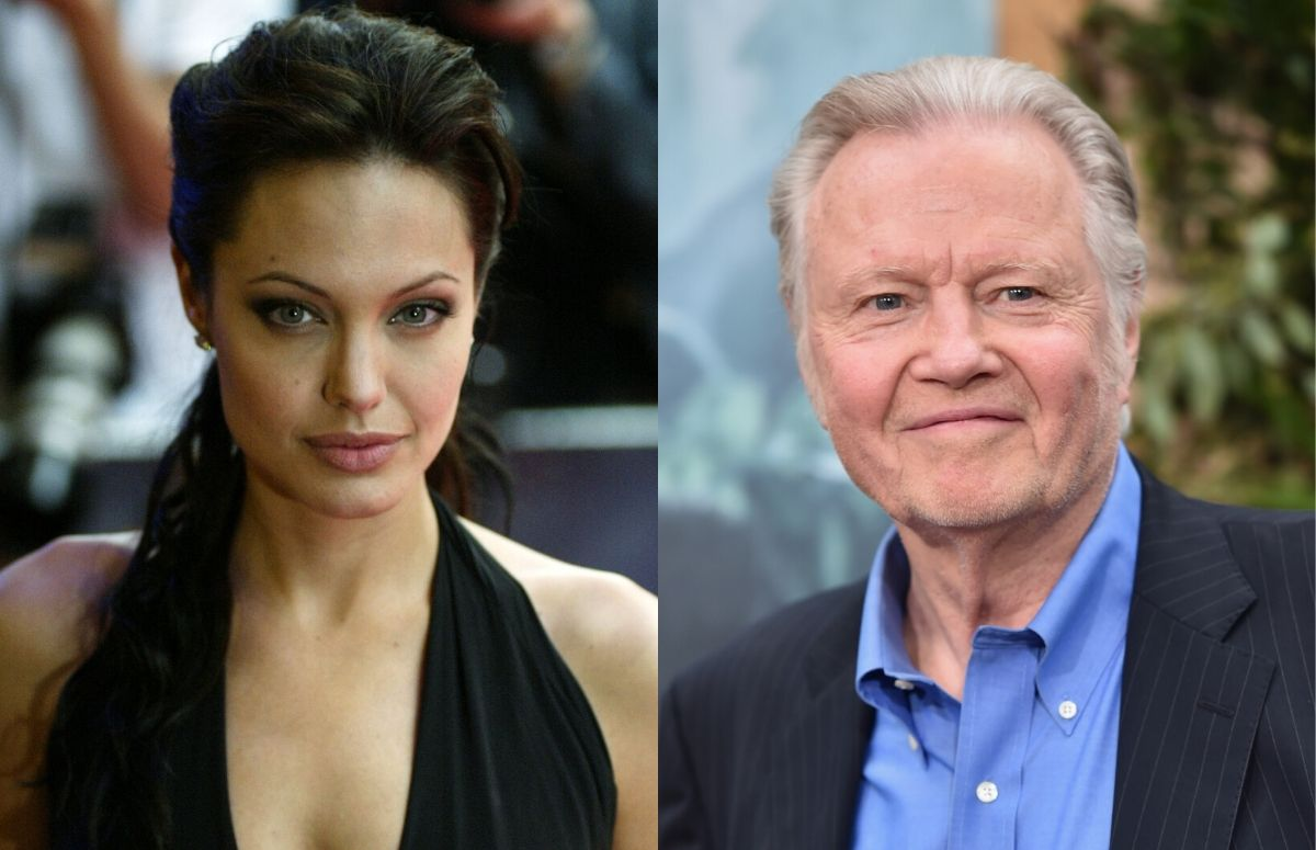 Angelina Jolie wearing a black dress on the red carpet. A separate photo of Jon Voight wearing a black suit jacket and blue shirt on the red carpet.