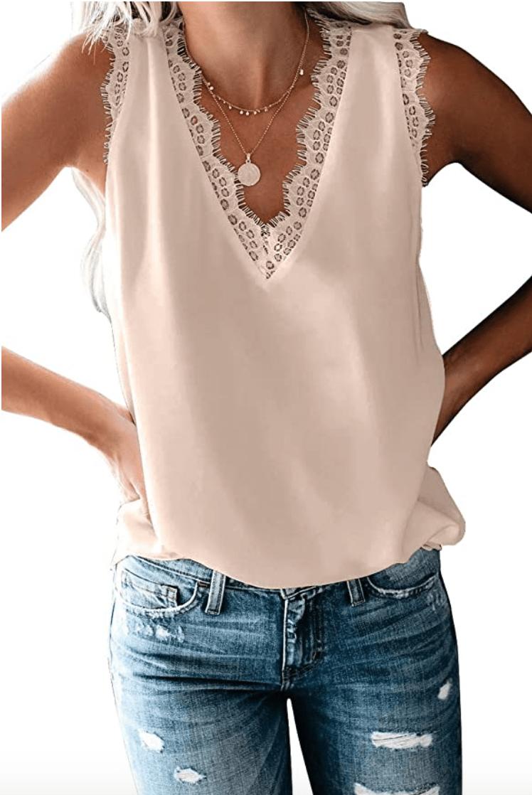 Uusollecy Women's V Neck Lace Trim Tank (Apricot)