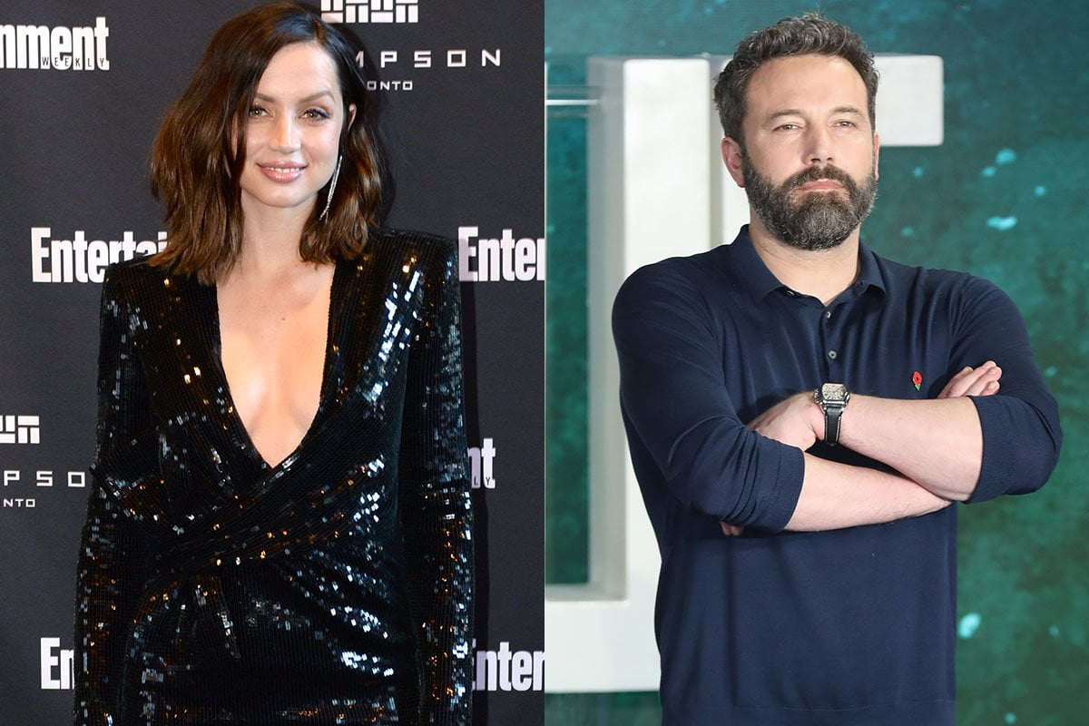 Two photos, Ana de Armas is a low cut dress on the left and Ben Affleck crossing his arms on the right