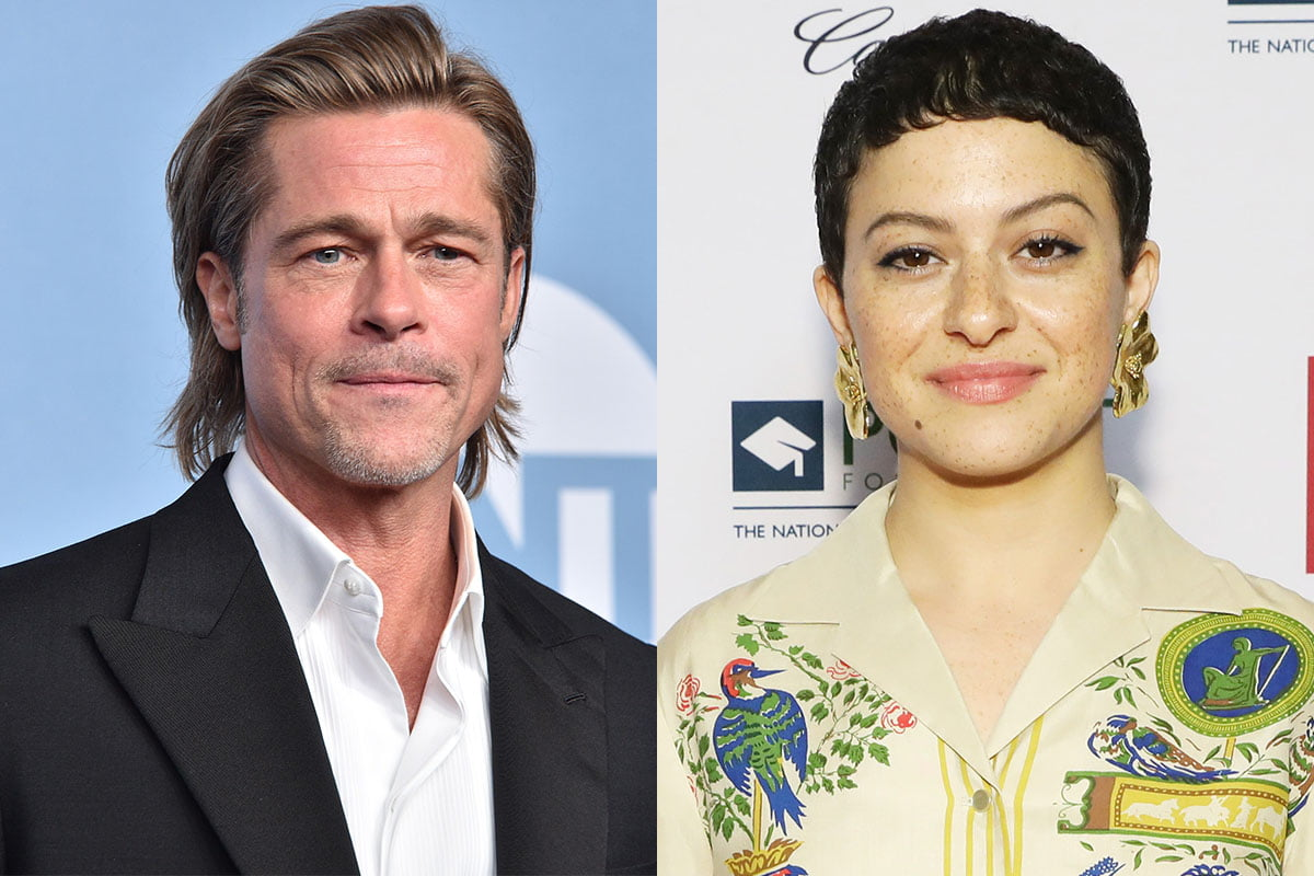 Brad Pitt on the left and Alia Shawkat on the right, in separate photos