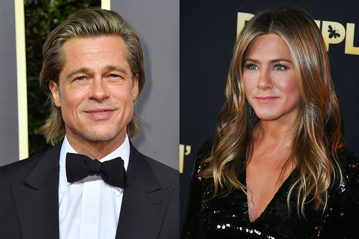 Brad Pitt in a tuxedo on the left, Jennifer Aniston in a black dress on the right in separate photos.