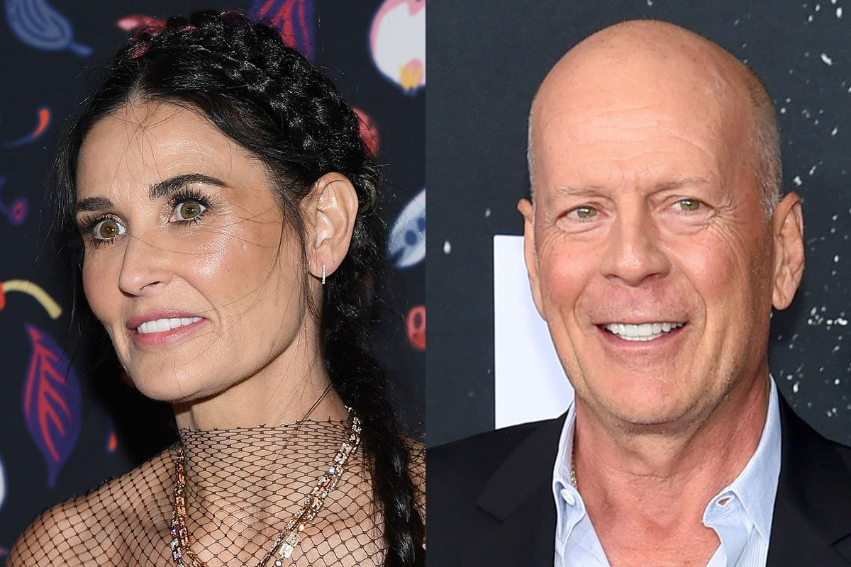 Two photo collage, Demi Moore on the left, Bruce Willis on the right.