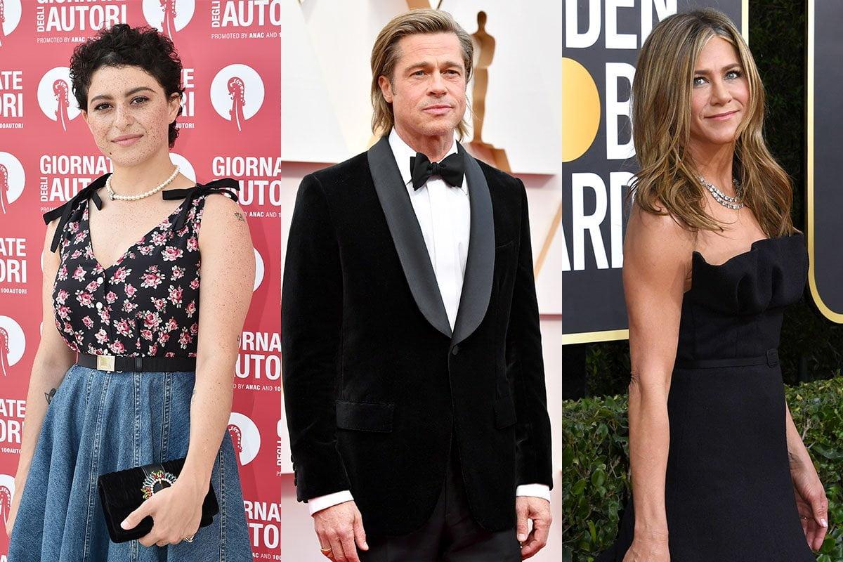 Three photo collage. Alia Shawkat on the left, Brad Pitt in the middle, Jennifer Aniston on the right.