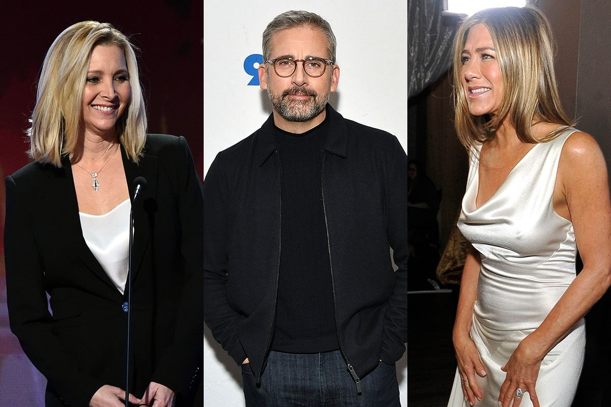 Three photo collage, from left to right: Lisa Kudrow, Steve Carell, Jennifer Aniston.