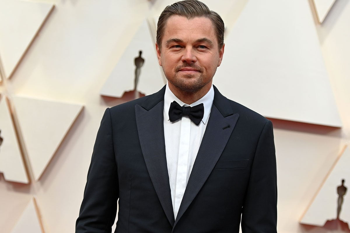 Leonardo DiCaprio in a black tuxedo at the Academy Awards