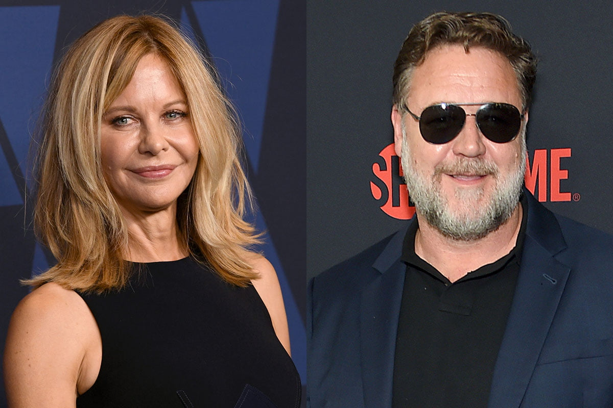 Two photos: Meg Ryan on the left, Russell Crowe on the right.