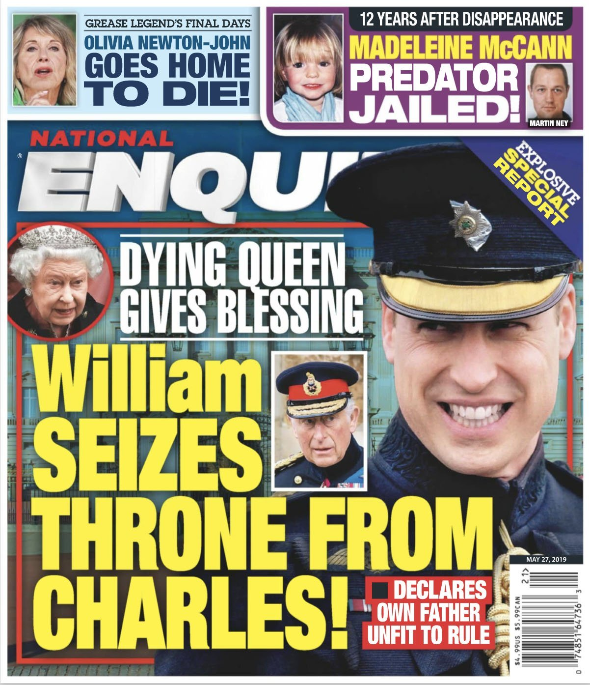 Prince William on the cover of National Enquirer with a headline claiming he has seized the throne.