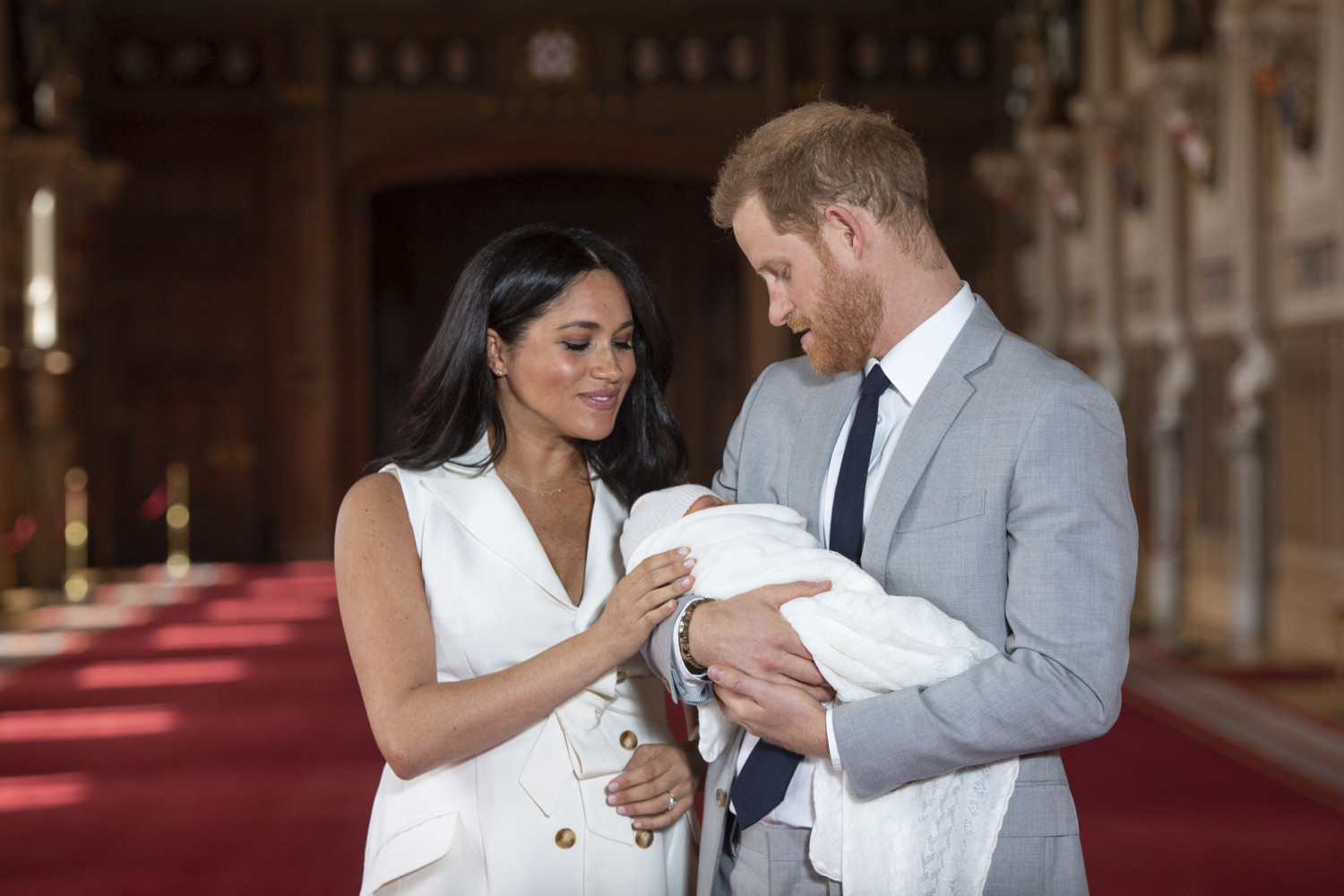Meghan Markle and Prince Harry hold newborn baby Archie