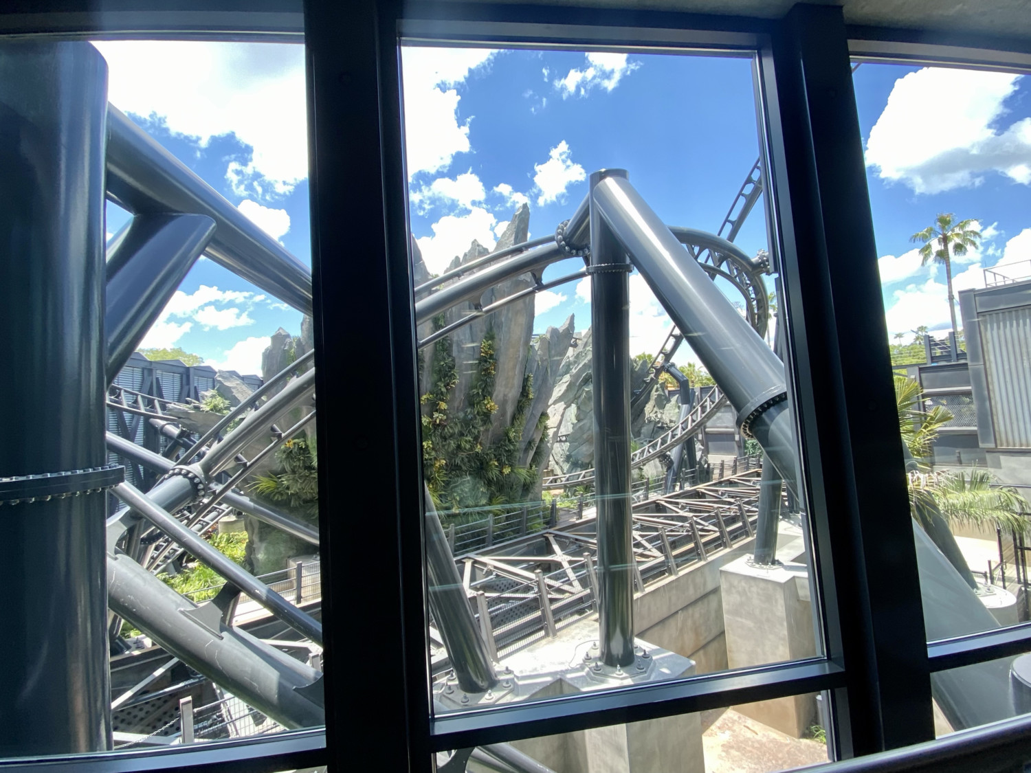 View from line of Jurassic World VelociCoaster
